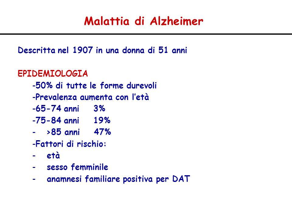 Malattia di Alzheimer Descritta nel 1907 in una donna di 51 anni EPIDEMIOLOGIA -50% di tutte le forme durevoli -Prevalenza aumenta con letà -65-74 ann