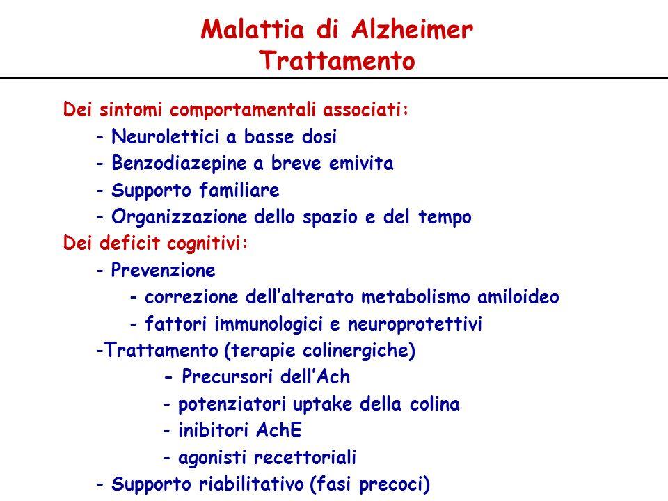 Dei sintomi comportamentali associati: - Neurolettici a basse dosi - Benzodiazepine a breve emivita - Supporto familiare - Organizzazione dello spazio