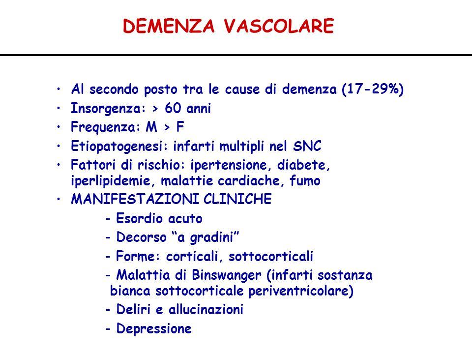 DEMENZA VASCOLARE Al secondo posto tra le cause di demenza (17-29%) Insorgenza: > 60 anni Frequenza: M > F Etiopatogenesi: infarti multipli nel SNC Fa