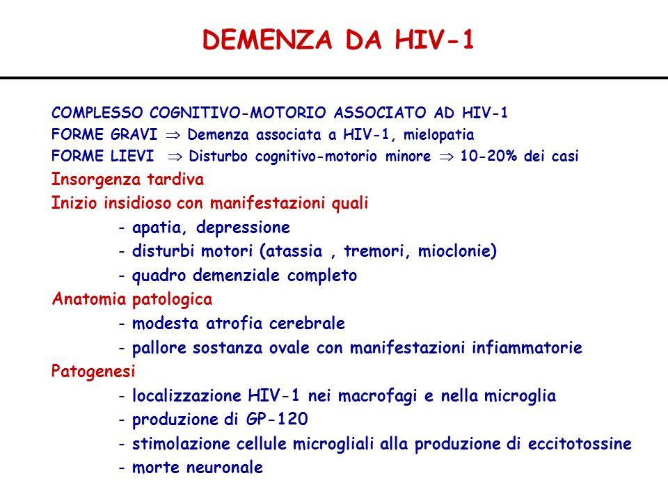 DEMENZA DA HIV-1 COMPLESSO COGNITIVO-MOTORIO ASSOCIATO AD HIV-1 FORME GRAVI Demenza associata a HIV-1, mielopatia FORME LIEVI Disturbo cognitivo-motor