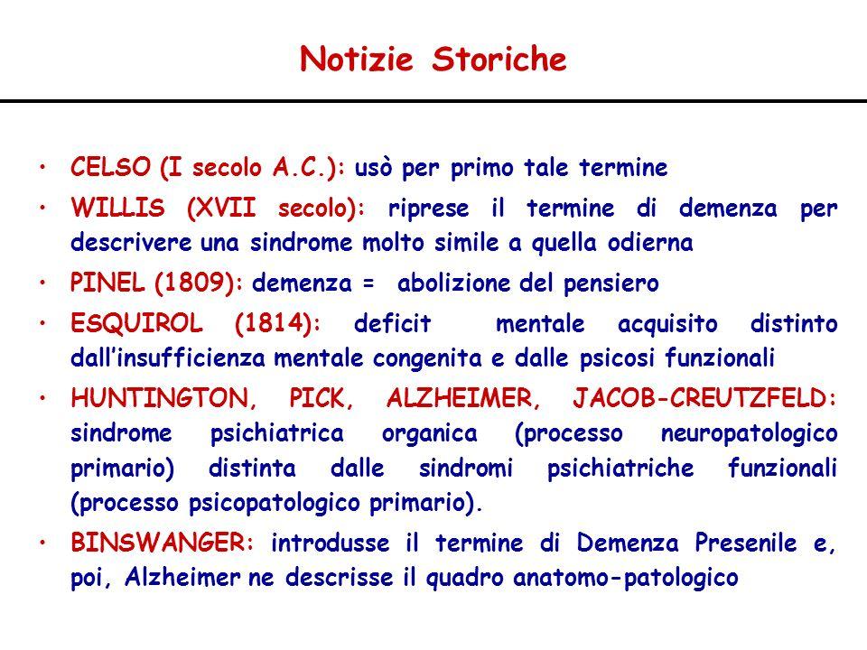 ALTERAZIONI NEUROTRASMETTITORIALI –Sistema Colinergico: livelli corticali di ChAT (correlati col deficit cognitivo) livelli AchE recettori nicotinici e muscarinici M 2 –Sistema Serotoninergico ( corticale e ippocampale) –Sistema Noradrenergico ( perdita neuronale nel locus coeruleus) –Acido Glutammico (eccitotossicità) –GABA –NEUROPEPTIDI (somatostatina, AUP, ossitocina, CRF) Malattia di Alzheimer
