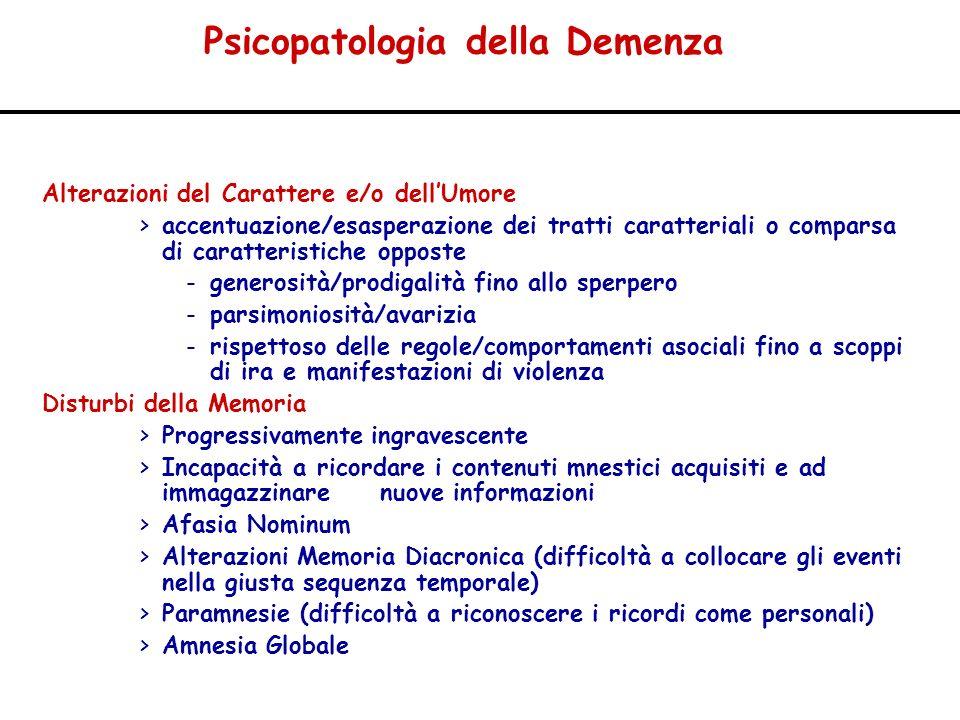 Psicopatologia della Demenza Alterazioni del Carattere e/o dellUmore >accentuazione/esasperazione dei tratti caratteriali o comparsa di caratteristich