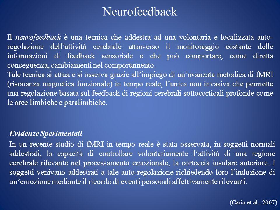 Neurofeedback Il neurofeedback è una tecnica che addestra ad una volontaria e localizzata auto- regolazione dellattività cerebrale attraverso il monit