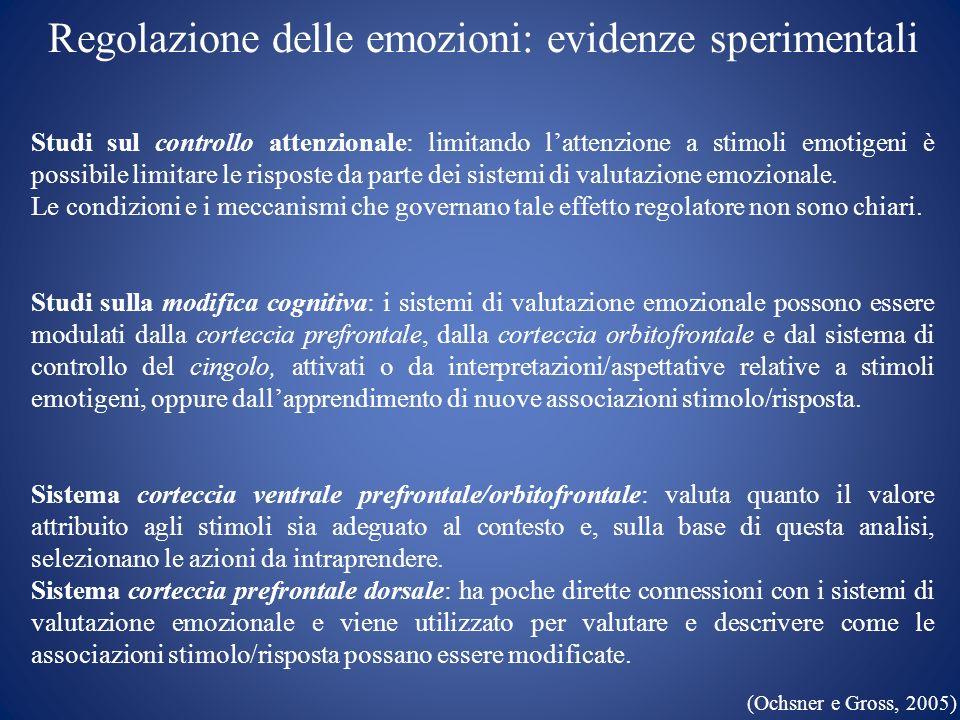 Regolazione delle emozioni: evidenze sperimentali Studi sul controllo attenzionale: limitando lattenzione a stimoli emotigeni è possibile limitare le