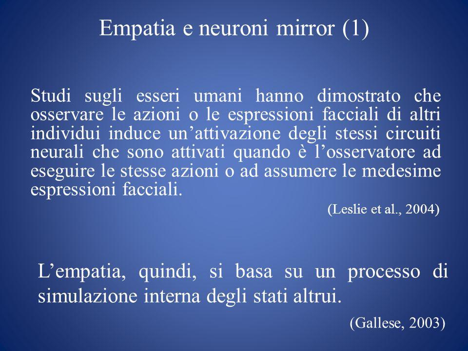 Empatia e neuroni mirror (1) Studi sugli esseri umani hanno dimostrato che osservare le azioni o le espressioni facciali di altri individui induce una