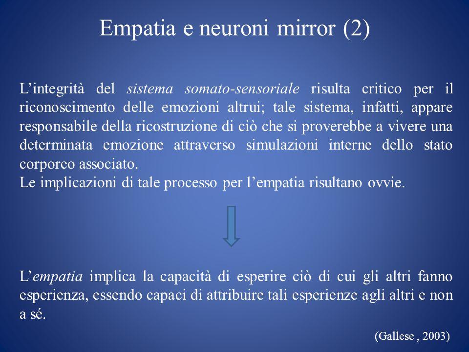 Empatia e neuroni mirror (2) Lintegrità del sistema somato-sensoriale risulta critico per il riconoscimento delle emozioni altrui; tale sistema, infat