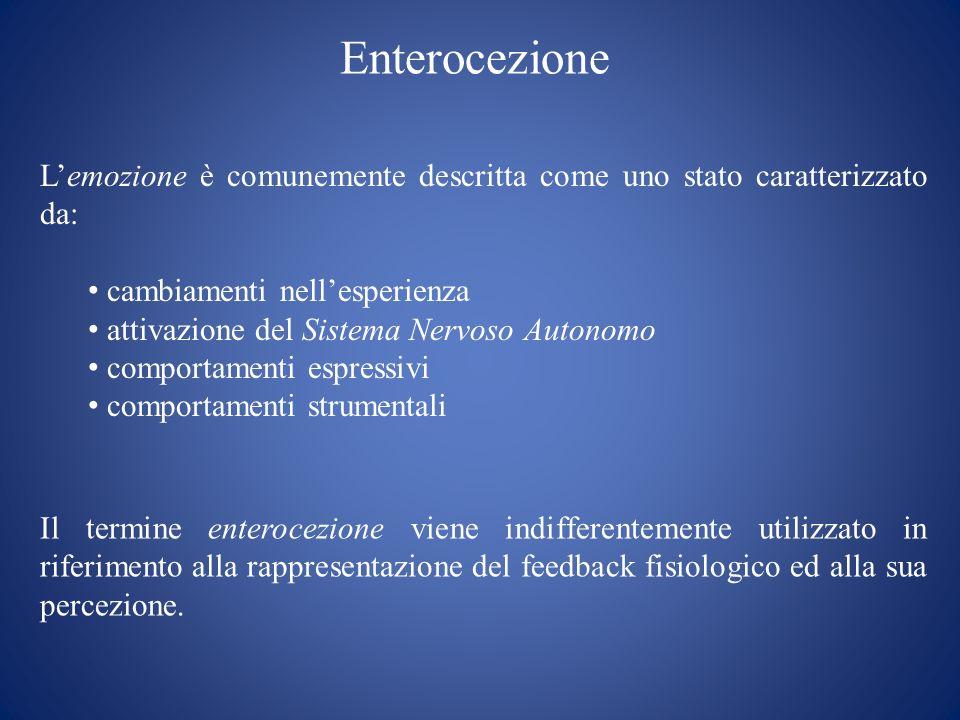 Enterocezione Il termine enterocezione viene indifferentemente utilizzato in riferimento alla rappresentazione del feedback fisiologico ed alla sua pe