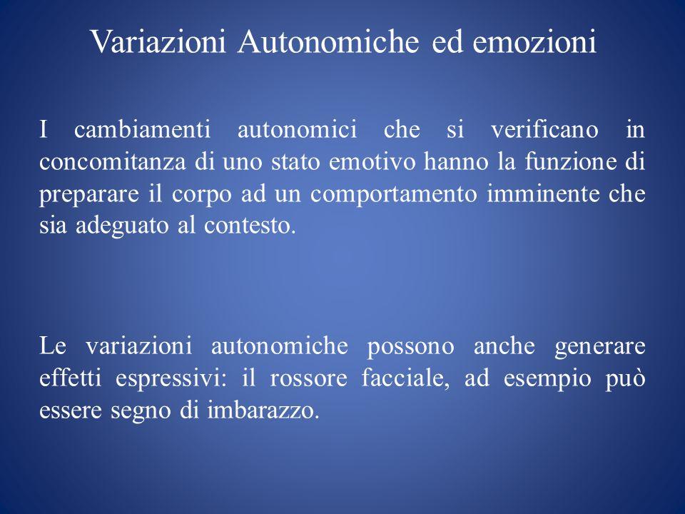 Variazioni Autonomiche ed emozioni I cambiamenti autonomici che si verificano in concomitanza di uno stato emotivo hanno la funzione di preparare il c