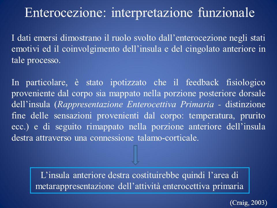 Enterocezione: interpretazione funzionale I dati emersi dimostrano il ruolo svolto dallenterocezione negli stati emotivi ed il coinvolgimento dellinsu