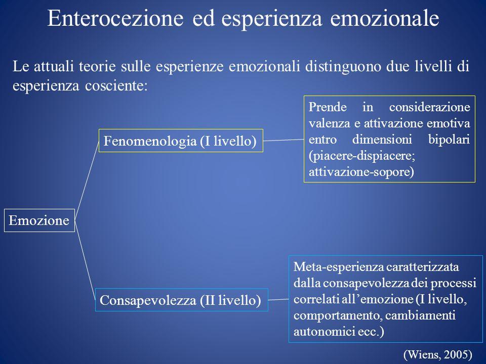 Enterocezione ed esperienza emozionale Le attuali teorie sulle esperienze emozionali distinguono due livelli di esperienza cosciente: Emozione Consape