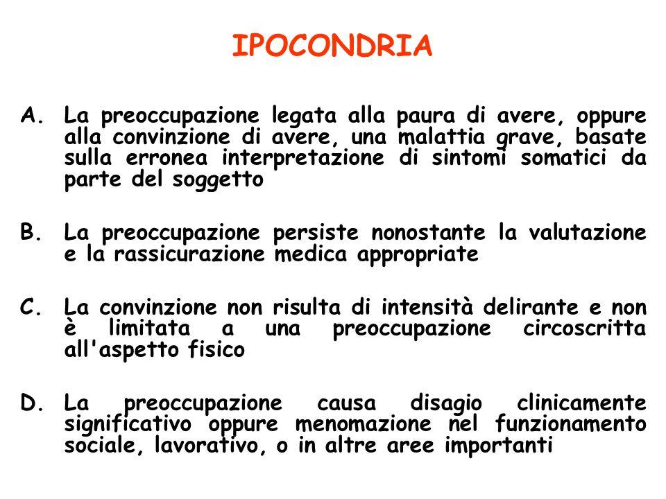 IPOCONDRIA A.La preoccupazione legata alla paura di avere, oppure alla convinzione di avere, una malattia grave, basate sulla erronea interpretazione
