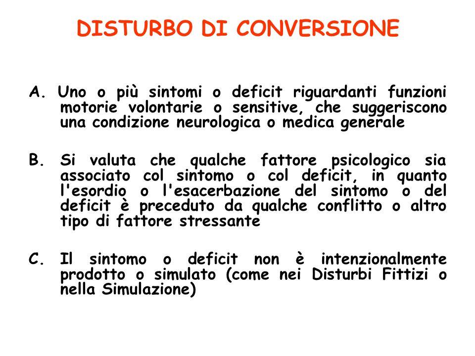 DISTURBO DI CONVERSIONE A. Uno o più sintomi o deficit riguardanti funzioni motorie volontarie o sensitive, che suggeriscono una condizione neurologic