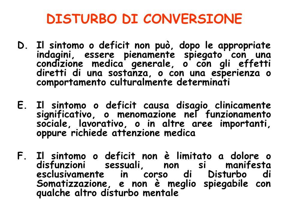 DISTURBO DI CONVERSIONE D.Il sintomo o deficit non può, dopo le appropriate indagini, essere pienamente spiegato con una condizione medica generale, o