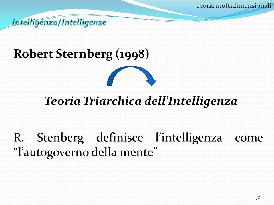 10 Teorie multidimensionaliIntelligenza/Intelligenze Robert Sternberg (1998) Teoria Triarchica dellIntelligenza R. Stenberg definisce lintelligenza co