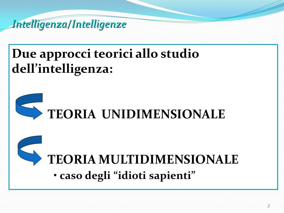 Intelligenza/Intelligenze 3 Due approcci teorici allo studio dellintelligenza: TEORIA UNIDIMENSIONALE TEORIA MULTIDIMENSIONALE caso degli idioti sapie
