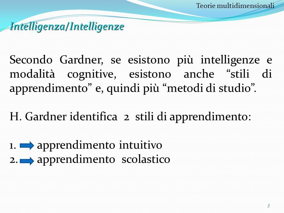 5 Teorie multidimensionaliIntelligenza/Intelligenze Secondo Gardner, se esistono più intelligenze e modalità cognitive, esistono anche stili di appren