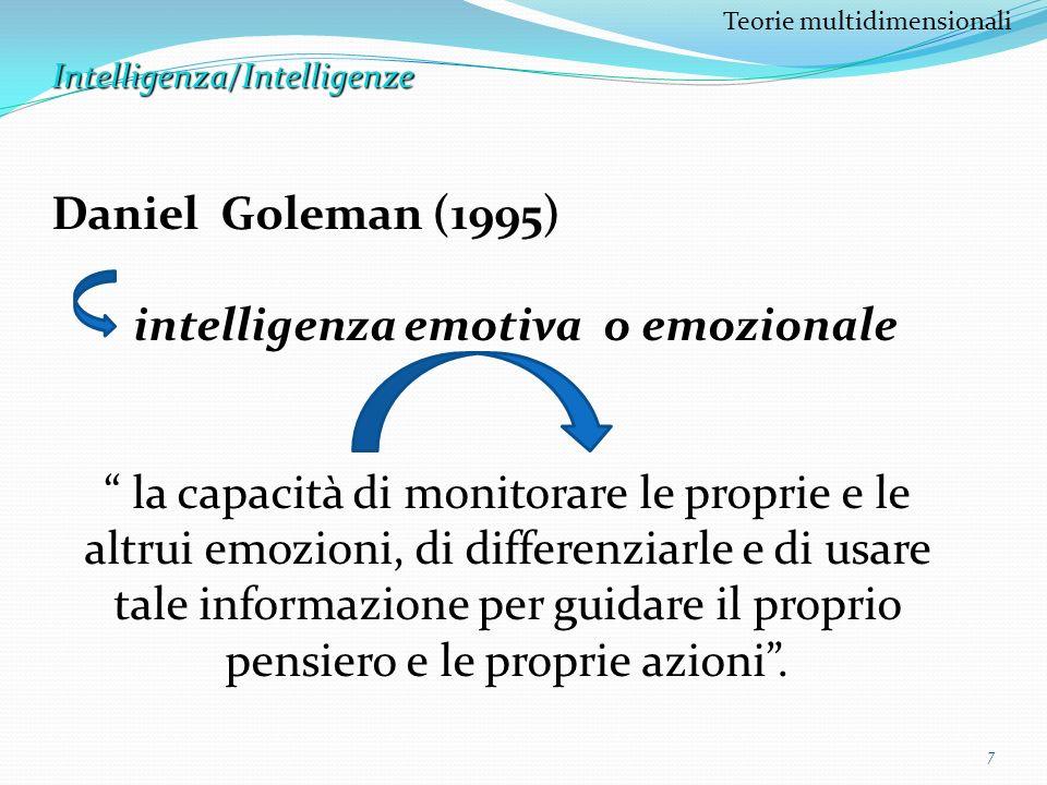 8 Teorie multidimensionaliIntelligenza/Intelligenze Lintelligenza emotiva è composta da 5 abilità: 1.La consapevolezza emotiva, ossia la capacità di distinguere e denominare le proprie emozioni in determinate situazioni, riconoscendo i segnali fisiologici che ne indicano il sopraggiungere 2.Il controllo emotivo, relativo al controllo degli impulsi e dellaggressività etero diretta ed auto diretta 3.La capacità di sapersi motivare, vale a dire la capacità di convogliare ed armonizzare le proprie emozioni al fine di raggiungere un obiettivo, reagendo in modo adeguato agli insuccessi ed alle frustrazioni