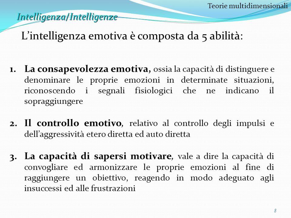 8 Teorie multidimensionaliIntelligenza/Intelligenze Lintelligenza emotiva è composta da 5 abilità: 1.La consapevolezza emotiva, ossia la capacità di d