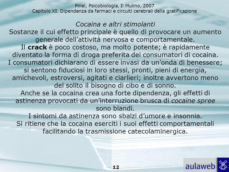 Pinel, Psicobiologia, Il Mulino, 2007 Capitolo XI. Dipendenza da farmaci e circuiti cerebrali della gratificazione 12 Cocaina e altri stimolanti Sosta