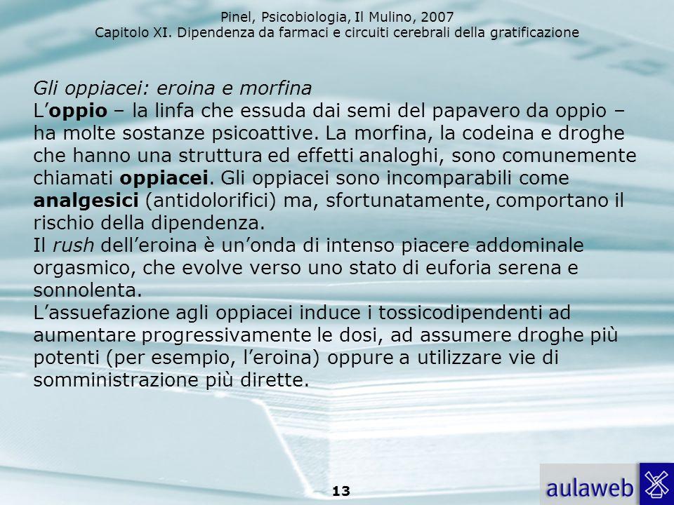 Pinel, Psicobiologia, Il Mulino, 2007 Capitolo XI. Dipendenza da farmaci e circuiti cerebrali della gratificazione 13 Gli oppiacei: eroina e morfina L
