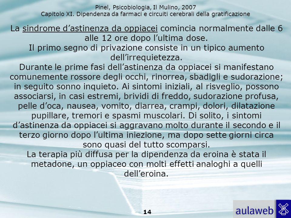 Pinel, Psicobiologia, Il Mulino, 2007 Capitolo XI. Dipendenza da farmaci e circuiti cerebrali della gratificazione 14 La sindrome dastinenza da oppiac