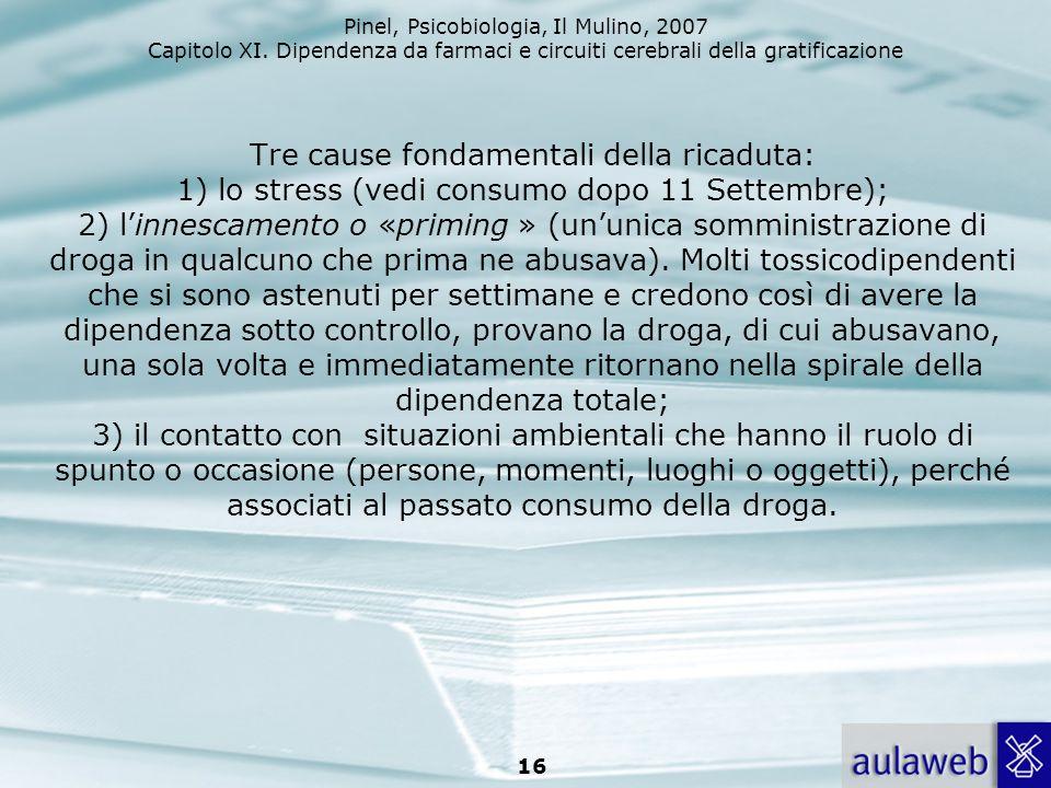 Pinel, Psicobiologia, Il Mulino, 2007 Capitolo XI. Dipendenza da farmaci e circuiti cerebrali della gratificazione 16 Tre cause fondamentali della ric