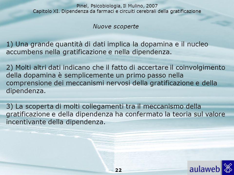 Pinel, Psicobiologia, Il Mulino, 2007 Capitolo XI. Dipendenza da farmaci e circuiti cerebrali della gratificazione 22 Nuove scoperte 1) Una grande qua