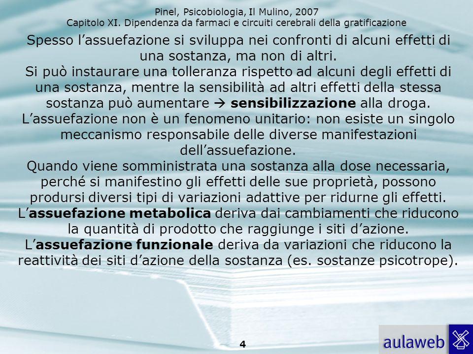 Pinel, Psicobiologia, Il Mulino, 2007 Capitolo XI. Dipendenza da farmaci e circuiti cerebrali della gratificazione 4 Spesso lassuefazione si sviluppa