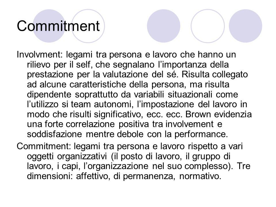 Commitment Involvment: legami tra persona e lavoro che hanno un rilievo per il self, che segnalano limportanza della prestazione per la valutazione de