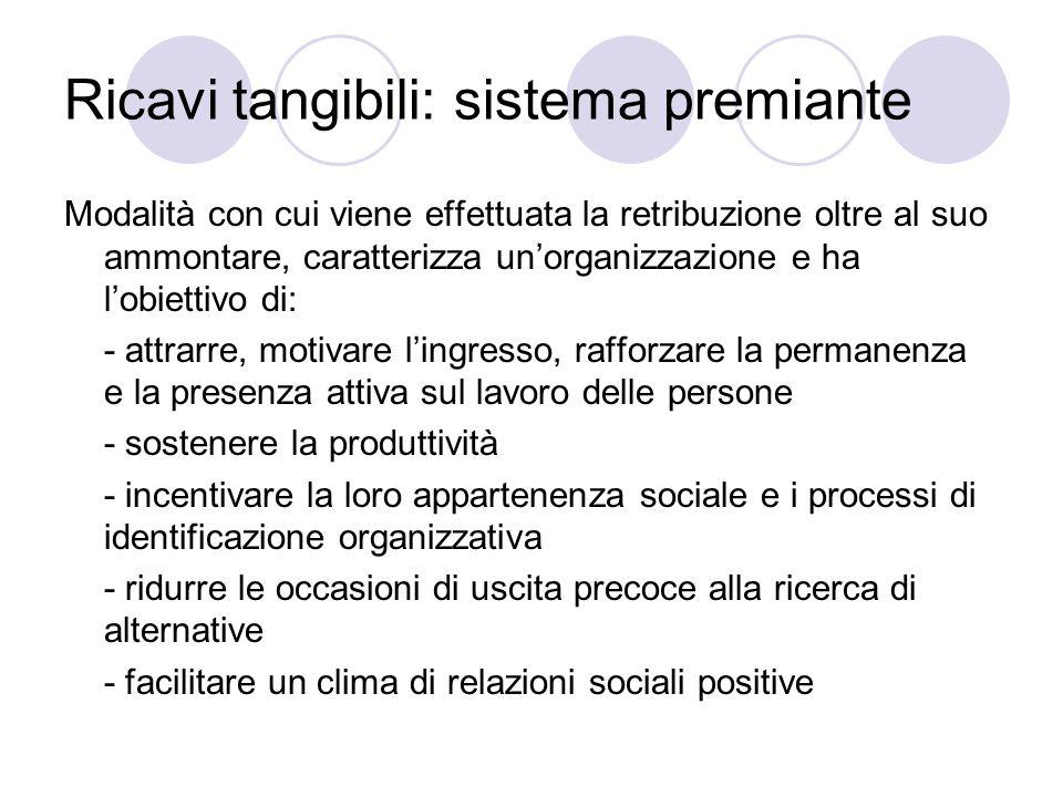 Ricavi tangibili: sistema premiante Modalità con cui viene effettuata la retribuzione oltre al suo ammontare, caratterizza unorganizzazione e ha lobie