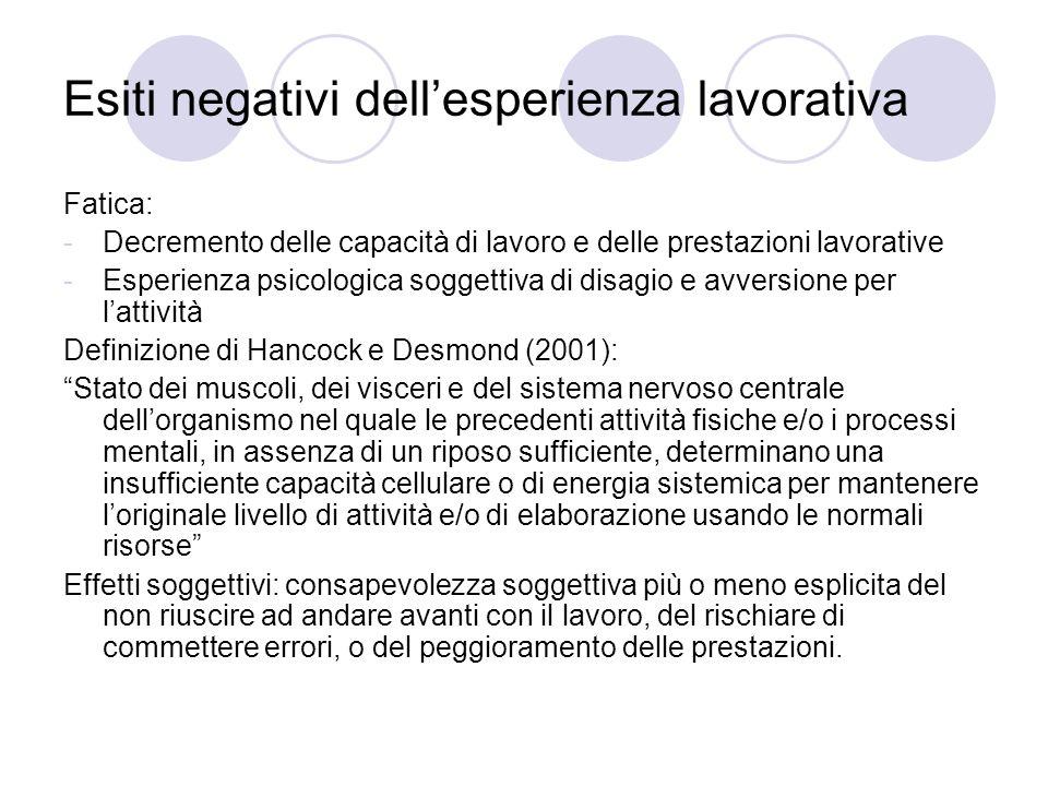 Esiti negativi dellesperienza lavorativa Fatica: -Decremento delle capacità di lavoro e delle prestazioni lavorative -Esperienza psicologica soggettiv