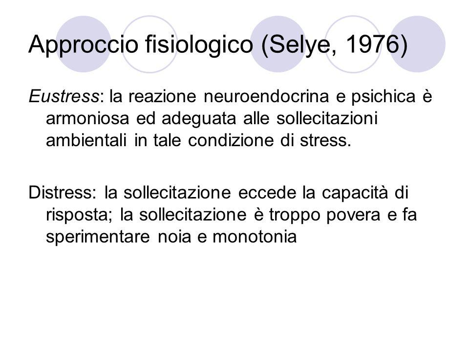 Approccio fisiologico (Selye, 1976) Eustress: la reazione neuroendocrina e psichica è armoniosa ed adeguata alle sollecitazioni ambientali in tale con