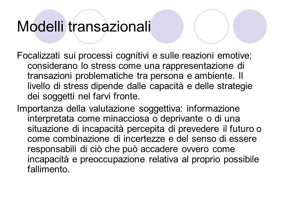 Modelli transazionali Focalizzati sui processi cognitivi e sulle reazioni emotive; considerano lo stress come una rappresentazione di transazioni prob