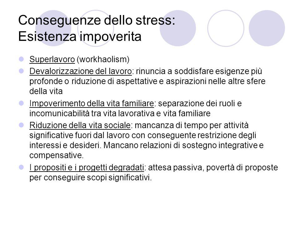 Conseguenze dello stress: Esistenza impoverita Superlavoro (workhaolism) Devalorizzazione del lavoro: rinuncia a soddisfare esigenze più profonde o ri