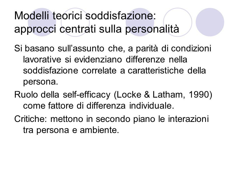 Modelli teorici soddisfazione: approcci centrati sulla personalità Si basano sullassunto che, a parità di condizioni lavorative si evidenziano differe