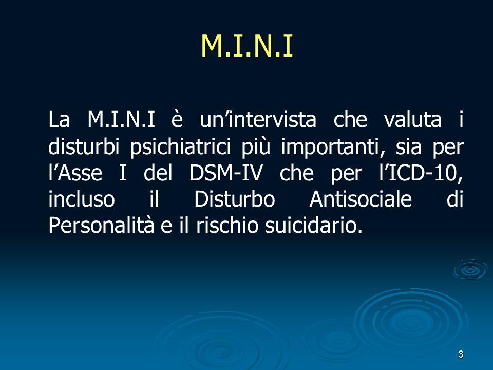 3 M.I.N.I La M.I.N.I è unintervista che valuta i disturbi psichiatrici più importanti, sia per lAsse I del DSM-IV che per lICD-10, incluso il Disturbo Antisociale di Personalità e il rischio suicidario.