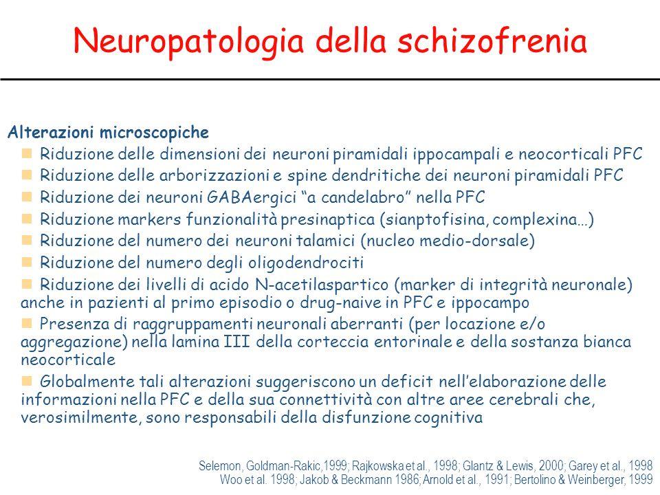 Neuropatologia della schizofrenia Alterazioni microscopiche Riduzione delle dimensioni dei neuroni piramidali ippocampali e neocorticali PFC Riduzione delle arborizzazioni e spine dendritiche dei neuroni piramidali PFC Riduzione dei neuroni GABAergici a candelabro nella PFC Riduzione markers funzionalità presinaptica (sianptofisina, complexina…) Riduzione del numero dei neuroni talamici (nucleo medio-dorsale) Riduzione del numero degli oligodendrociti Riduzione dei livelli di acido N-acetilaspartico (marker di integrità neuronale) anche in pazienti al primo episodio o drug-naive in PFC e ippocampo Presenza di raggruppamenti neuronali aberranti (per locazione e/o aggregazione) nella lamina III della corteccia entorinale e della sostanza bianca neocorticale Globalmente tali alterazioni suggeriscono un deficit nellelaborazione delle informazioni nella PFC e della sua connettività con altre aree cerebrali che, verosimilmente, sono responsabili della disfunzione cognitiva Selemon, Goldman-Rakic,1999; Rajkowska et al., 1998; Glantz & Lewis, 2000; Garey et al., 1998 Woo et al.