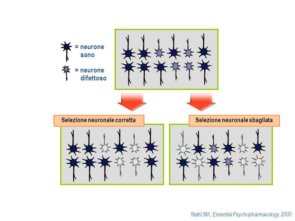 = neurone sano = neurone difettoso Selezione neuronale correttaSelezione neuronale sbagliata Stahl SM, Essential Psychopharmacology, 2000