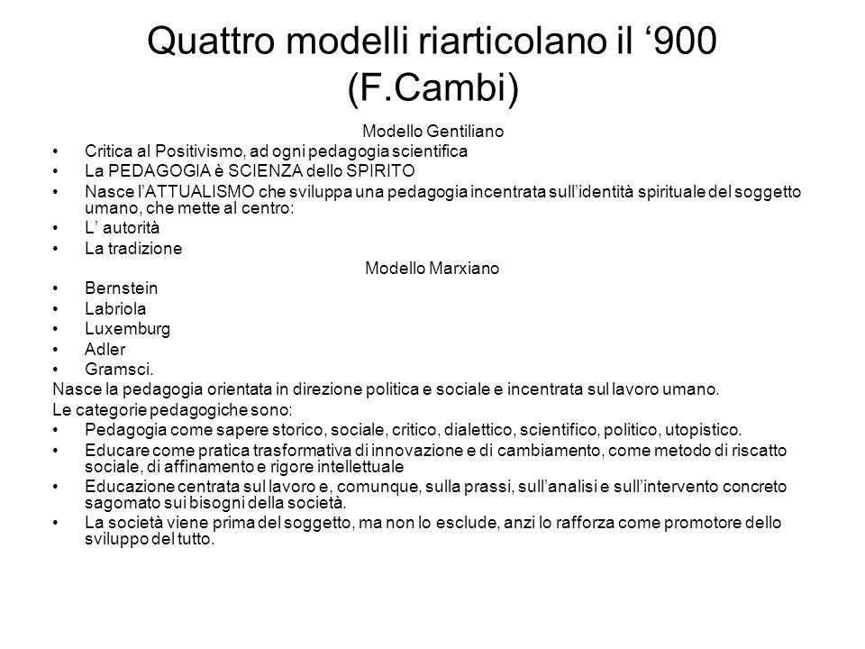 Quattro modelli riarticolano il 900 (F.Cambi) Modello Gentiliano Critica al Positivismo, ad ogni pedagogia scientifica La PEDAGOGIA è SCIENZA dello SP