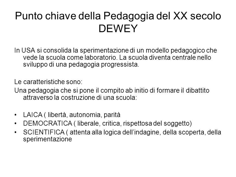 Punto chiave della Pedagogia del XX secolo DEWEY In USA si consolida la sperimentazione di un modello pedagogico che vede la scuola come laboratorio.