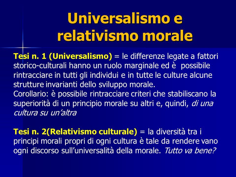 3 orientamenti Un orientamento universalistico puro (Socrate, Kant, Kohlberg): Le differenze culturali agiscono solo nel senso di favorire o meno il raggiungimento di tutte le fasi di sviluppo morale ma, secondo i fautori di questo approccio, strutture e forme del ragionamento non variano tra le culture.