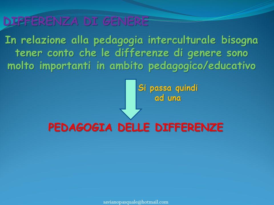 DIFFERENZA DI GENERE PEDAGOGIA DELLE DIFFERENZE savianopasquale@hotmail.com In relazione alla pedagogia interculturale bisogna tener conto che le differenze di genere sono molto importanti in ambito pedagogico/educativo Si passa quindi ad una