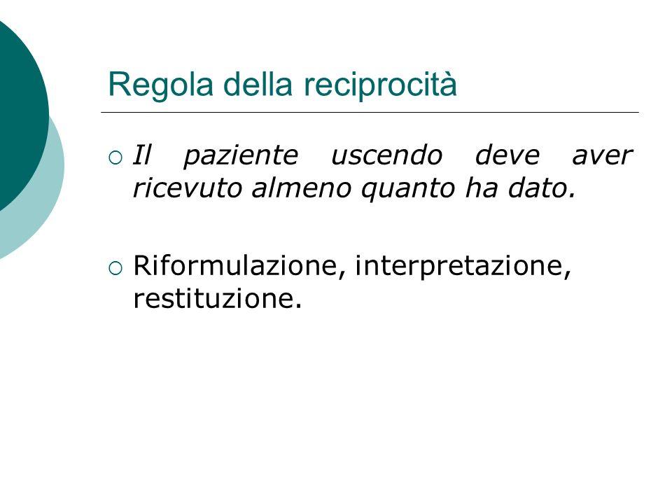 Regola della reciprocità Il paziente uscendo deve aver ricevuto almeno quanto ha dato. Riformulazione, interpretazione, restituzione.