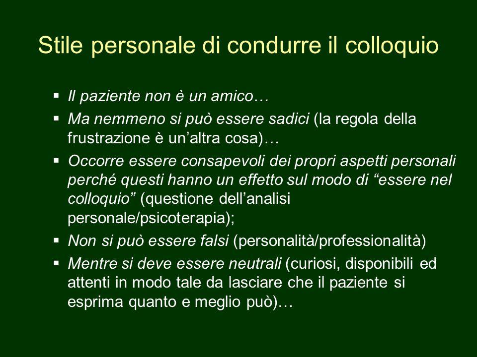 Aspetti materiali del colloquio Luogo (stanza, porta) Arredamento Corpo dello psicologo/psichiatra (abbigliamento, postura).