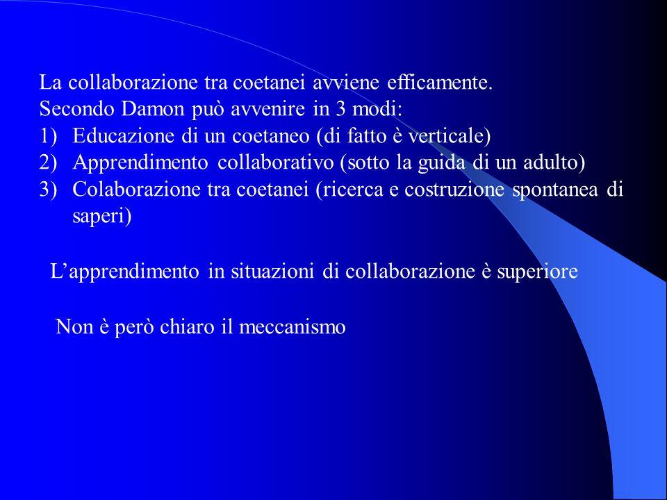 La collaborazione tra coetanei avviene efficamente. Secondo Damon può avvenire in 3 modi: 1)Educazione di un coetaneo (di fatto è verticale) 2)Apprend