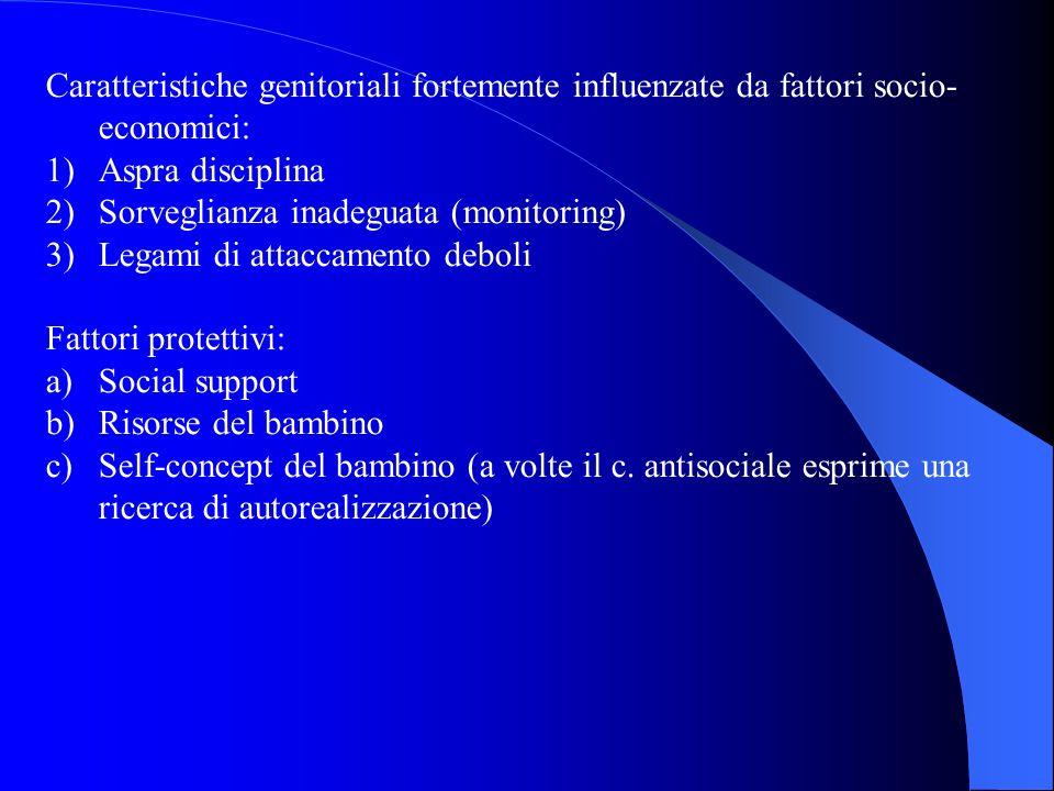 Caratteristiche genitoriali fortemente influenzate da fattori socio- economici: 1)Aspra disciplina 2)Sorveglianza inadeguata (monitoring) 3)Legami di