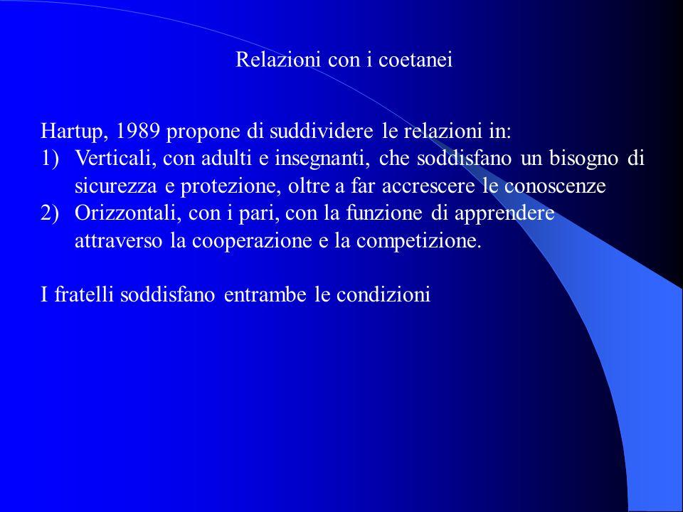 Relazioni con i coetanei Hartup, 1989 propone di suddividere le relazioni in: 1)Verticali, con adulti e insegnanti, che soddisfano un bisogno di sicur