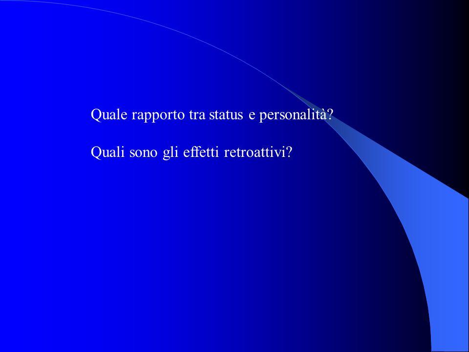 Quale rapporto tra status e personalità? Quali sono gli effetti retroattivi?