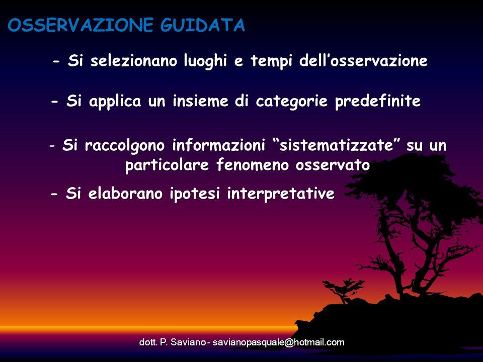 - Si selezionano luoghi e tempi dellosservazione dott. P. Saviano - savianopasquale@hotmail.com OSSERVAZIONE GUIDATA - Si applica un insieme di catego
