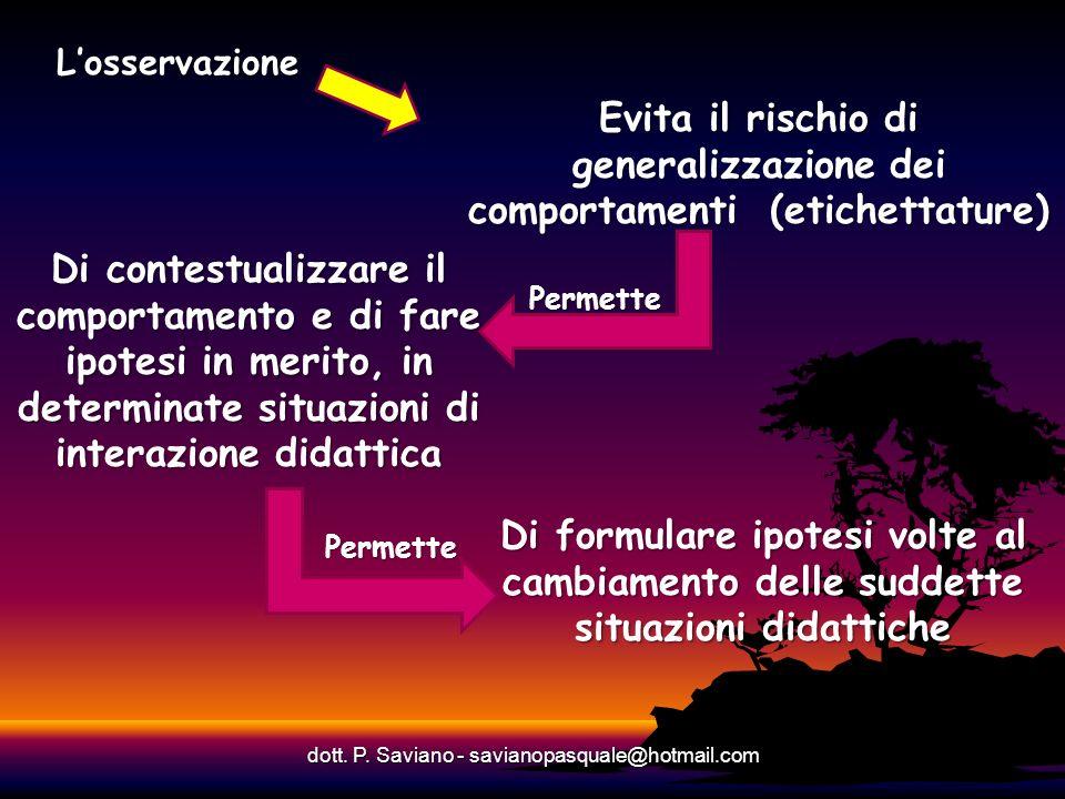 Losservazione dott. P. Saviano - savianopasquale@hotmail.com Evita il rischio di generalizzazione dei comportamenti (etichettature) Di formulare ipote